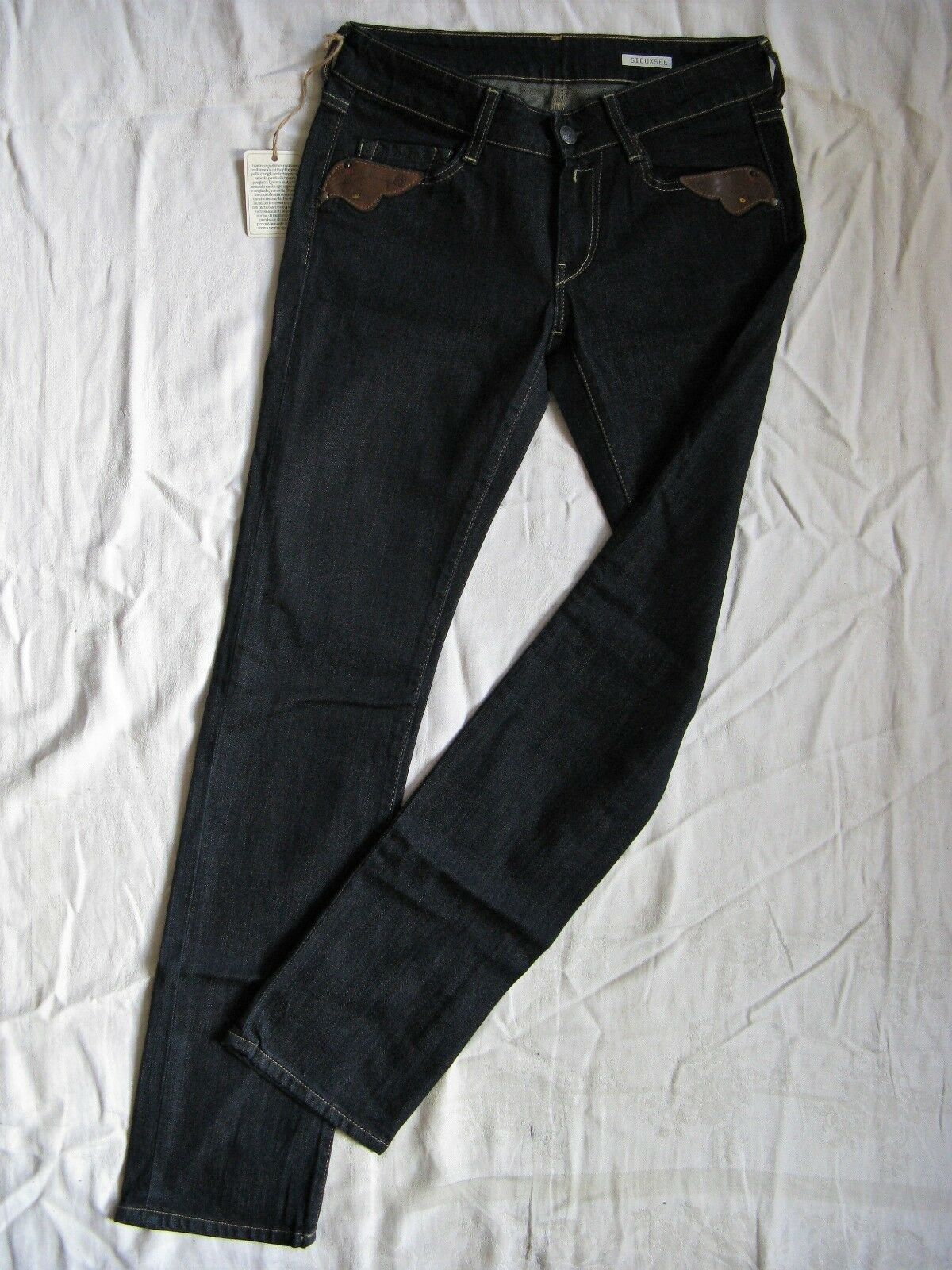 REPLAY siouxsee Donna blu Jeans Stretch w26 l32 Low Waist Slim Fit Straight Leg