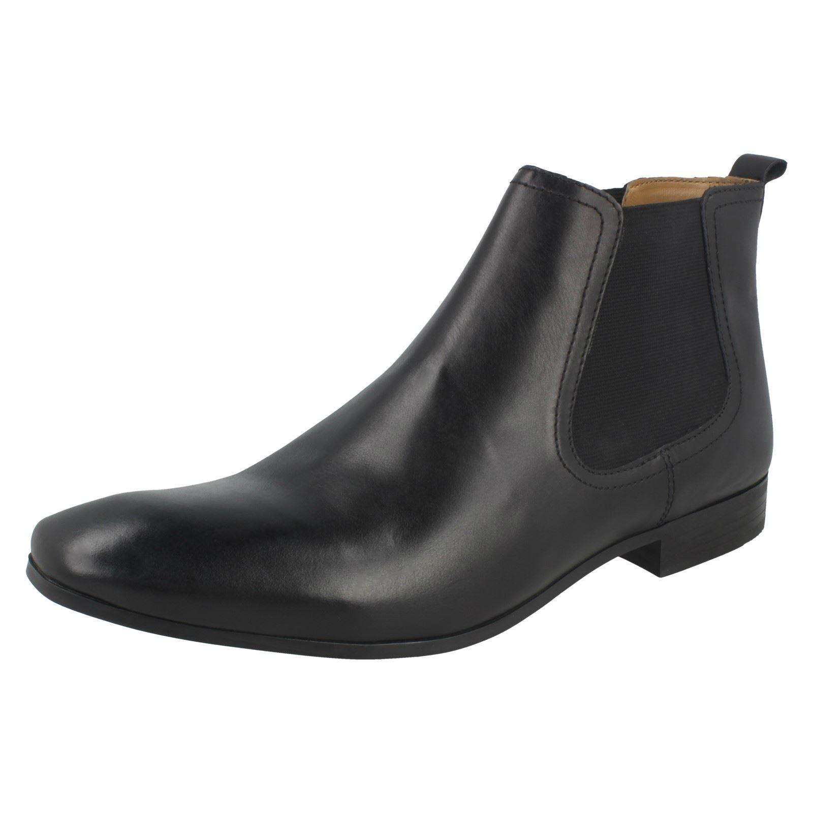 Zapatos casuales salvajes Base para hombre London Shuttle Negro Cuero ceroso Smart Chelsea Botas