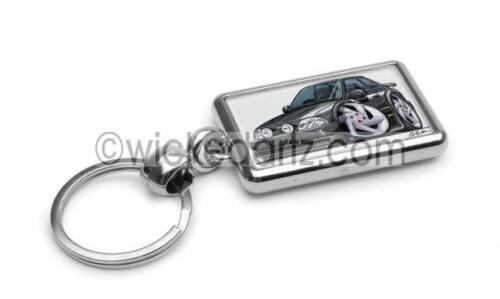 RetroArtz Cartoon Car Ford Escort MK4 RS Turbo in Grey Premium Metal Key Ring