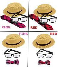 Women/'s Naughty School Girl Costume Trinian Straw Hat Glasses Socks Fancy Dress