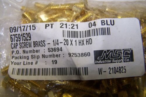 BOX OF 100 1//4-20x1 Hex Head Cap Screws Solid Brass BCSHB025101000 100