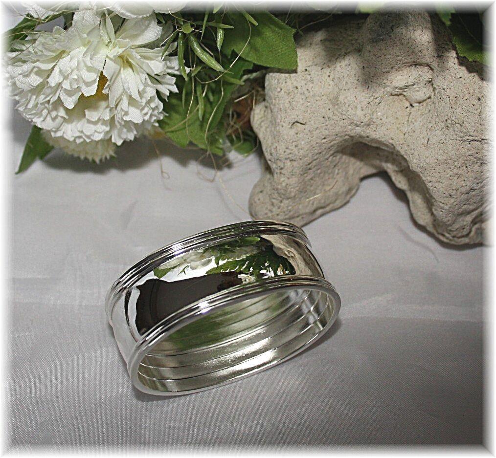 Serviettes anneaux argenté ovale, 6-er Set Comme Cadeau De Mariage, Anniversaire