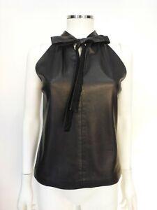 Gucci-Black-Leather-Halter-Top-w-Necktie-Sz-2-Eu-38