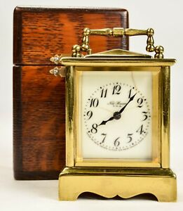 Antique New Haven Small Brass Carriage Clock w/ Original Case