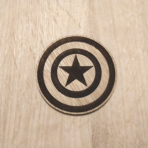 Details About Marvel Inspired Wooden Coaster Captain America Shield Laser Cut Gift