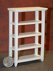 Dolls House White Wood Open Shelf Unit Bookcase Miniature 1:12 Scale Furniture
