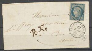 1850-Lettre-N-4-Obl-Grille-CAD-T15-CHATILLON-S-SEINE-20-SUP-Signee-X2617