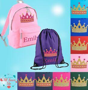 Personalised School Bag , Vinyl Rucksack, Backpack, PE Bag, Kit Bag | Crown