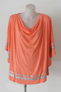 LADIES-AUTOGRAPH-TOP-PLUS-SIZE-16-24-PEACH-TUNIC-COWL-PONCHO-STYLE