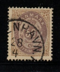 Denmark-Sc-33-1875-50-ore-brown-amp-violet-stamp-used-Free-Shipping
