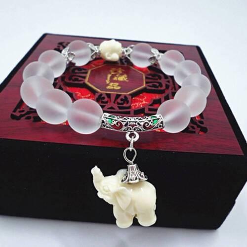 Fashion ethnique naturel mat cristal perles bracelet éléphant Bracelet Pendentif