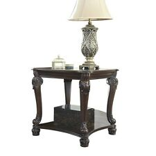 Ashley Furniture Signature Design Norcastle End Table in Ornate Style Dark Brown