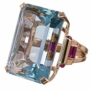 4-25-Ct-Princess-Aquamarine-Ring-Women-Wedding-Jewelry-Gift-14K-Rose-Gold-Plated