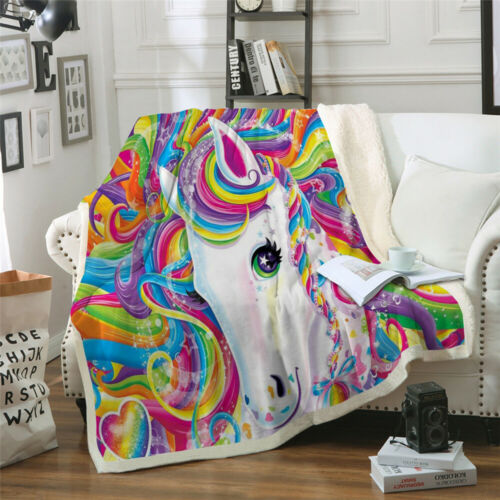 Sherpa Fleece Unicorn Blanket Rug for Couch Sofa Bed Soft Throw Hot Sale US