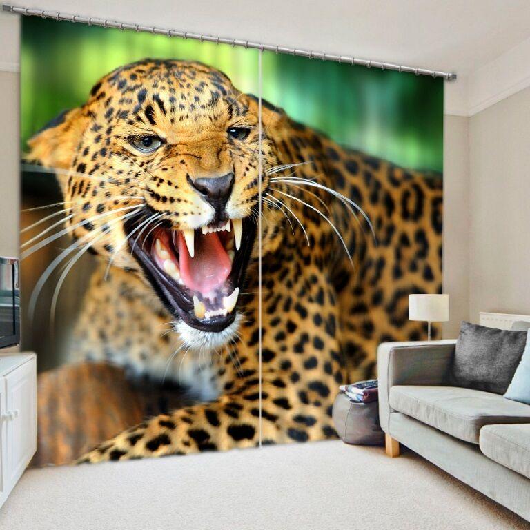 Angry Leopardo Animal Salvaje 3D 2 Panel Cortina conjunto estilo apagón