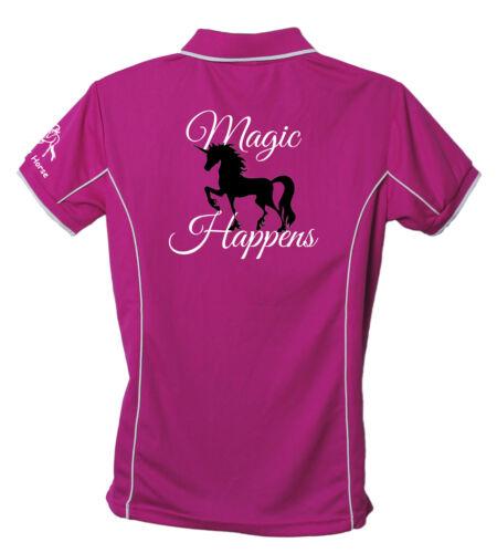 LADIES UNICORN POLO SHIRT MAGIC HAPPENS BRAND NEW