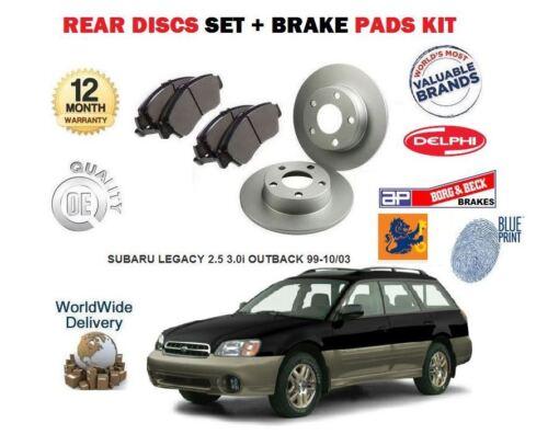 FOR SUBARU LEGACY 2.5 3.0 OUTBACK 1999-10//2003 REAR BRAKE DISCS SET PADS KIT