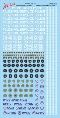 Police logos et Gaps Décalque 1//43 naßschiebebild German Police pol08-43-1