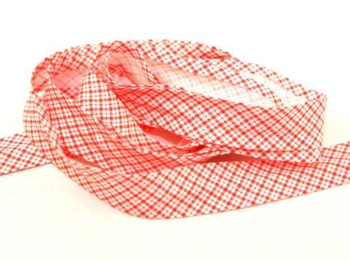 LL BBF25Gingham-M per 3 metres Gingham Print Cotton Bias Binding Tape