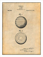 1918 Golf Ball Patent Patent Print Art Drawing Poster 18x24