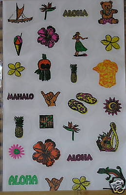 NIP ALOHA FLOWERS 42 Pc//Package Acid Free! FOAMIES Tropical Foam Stickers