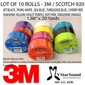 Duct-Tape-10-Rolls-10-Colors-3M-1-88-034-x-20-Yards-Scotch-3M-920-Multi-Color-Lot