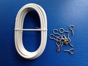 3m Expanding Curtain Voil Net Wire Inc Hooks Eyes Ebay