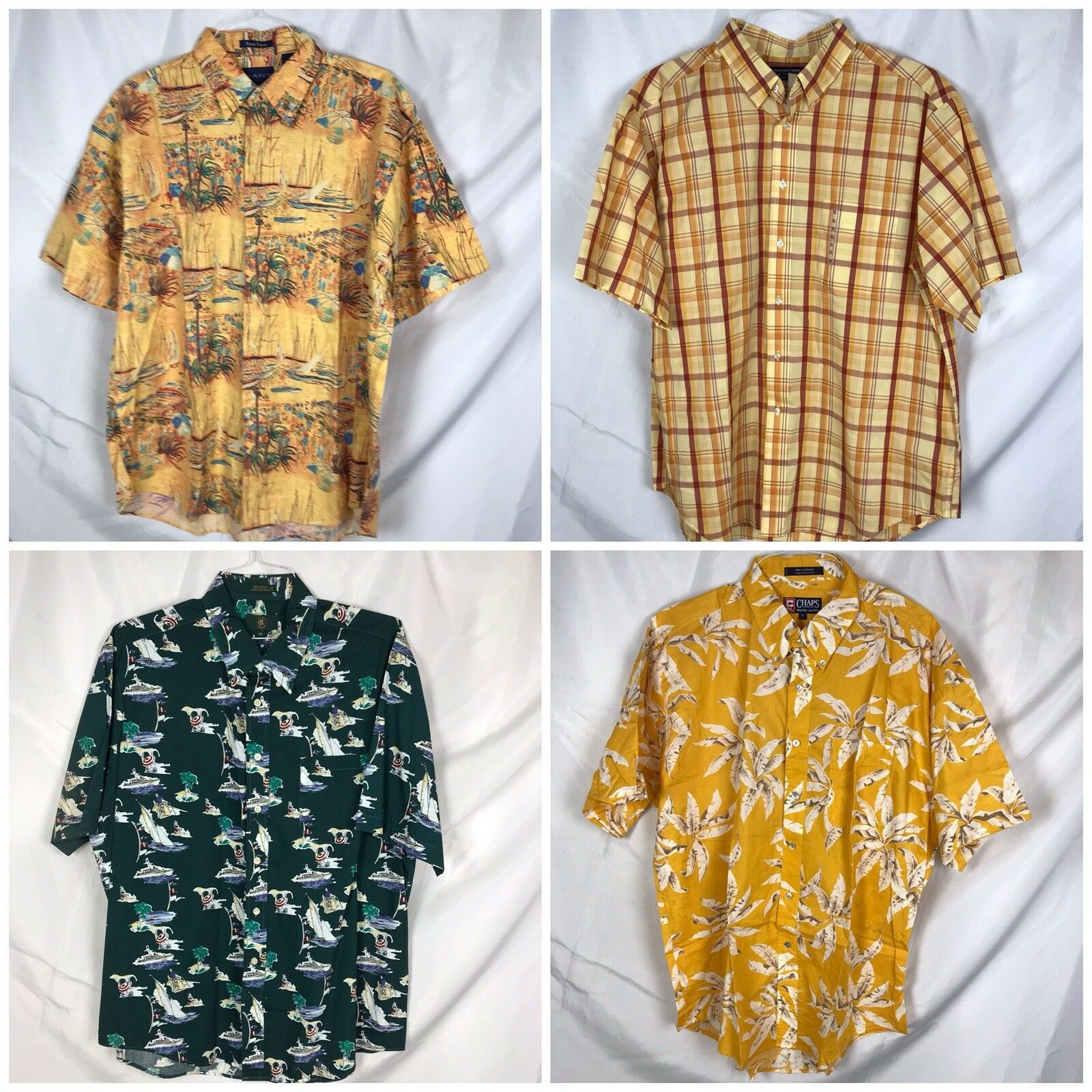 8b5863a7 Lot 4 Mens XL Short Sleeve Tropical Vacation Boats Shirts Chaps Club Room  Gant