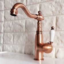Antique Red Copper Single Ceramic handle Kitchen Sink Faucet Mixer Tap Pnf414