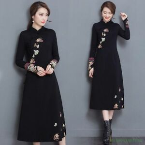Chinese-Lady-Ethnic-Black-Chic-Floral-Embroidery-Long-Cheongsam-Dress-2018-Vogue