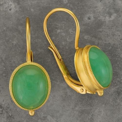 Musée de bijoux Maharashtra CHRYSOPRASE Boucles d/'oreilles