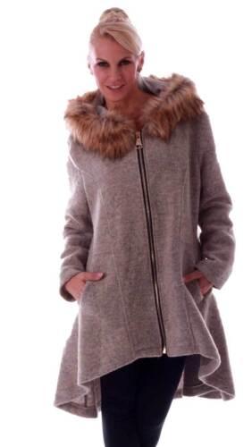 grande laine de dos long fermeture en fausse devant capuche fourrure Manteau glissière court avec à wExqZCa