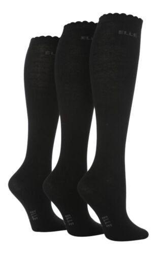 37-39 Eur Schwarz 3 Paar Mädchen Overknee Einfach Elle Socken 4-5 Uk