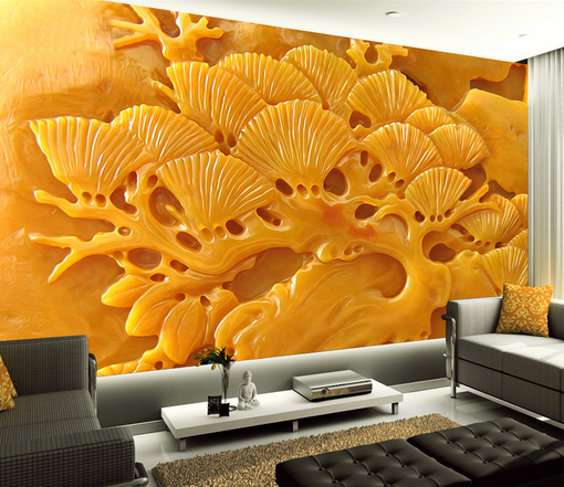 3D Relief Gelb Trees 853 Paper Wall Print Wall Decal Wall Deco Indoor Murals