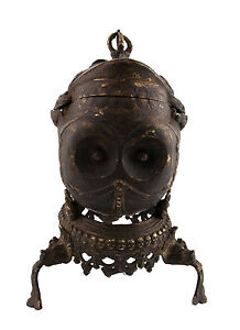 "Antico Kapala Tibetano 24cm-9 "" 4 Coppa Da Rituale Buddista Bronzo Skull Cup"