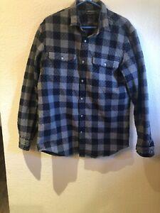 Banana-Republic-Men-039-s-Flannel-Shirt-Gray-Size-L-Slim-Fit