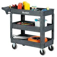 Plastic Utility Service Cart 550 Lbs Capacity 3 Shelves Rolling 40 X 17 X 33