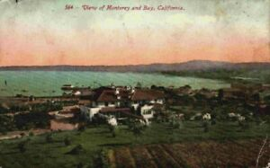 View Of Monterey And Bay California CA Vintage 1910's Postcard