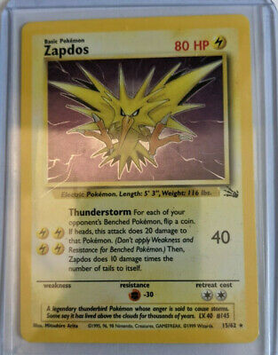Played 15//62 Holo Rare Pokemon Zapdos Fossil