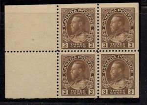 Canada-Sc-108a-1918-3-c-brn-G-V-Admiral-issue-bklt-pane-of-4-mint-Free-Shipping