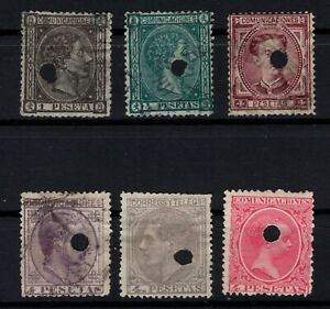 P135052-SPAIN-STAMPS-YEARS-1875-1889-USED-CLASSIC-LOT-CV-100