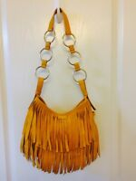 YVES SAINT LAURENT YSL Fringe La Boheme Yellow Leather Suede Bag Purse Tom Ford