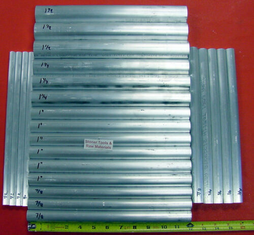 24 Piece ALUMINUM SOLID ROUND ASSORTMENT 1/2 to 1.50 6061 Bar Combo Pack #22
