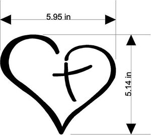 christian sticker decal cross inside the heart many sold