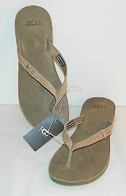 New $55 UGG Australia W Ally II Green Olive Flip Flops Leather Thong Strap