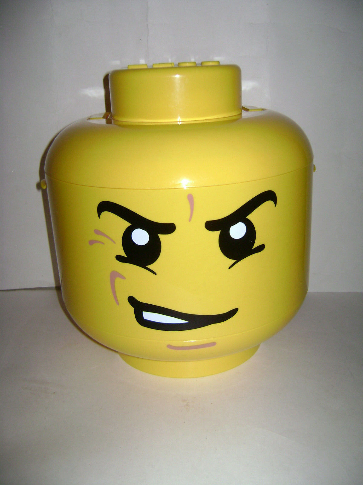 LEGO Sort Store Sorter Large Yellow Storage Head Mad Face w  Grids CASE RETIRED
