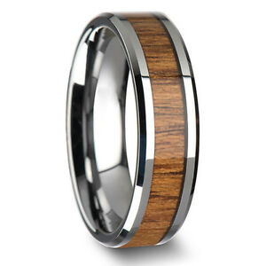8mm-Band-Ring-Tungsten-Steel-Wood-Couple-Men-039-s-Stainless-Steel-Silver-Inlaid-ID