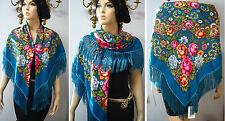 "Russian Ukrainian Shawl Floral w/Fringes 49""/125cm Azure Blue  80%Wool NWT #98d"