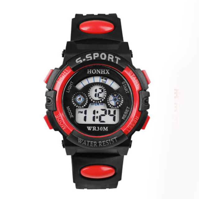 Waterproof Children Boy Digital LED Quartz Alarm Date Sports Wrist Watch Red