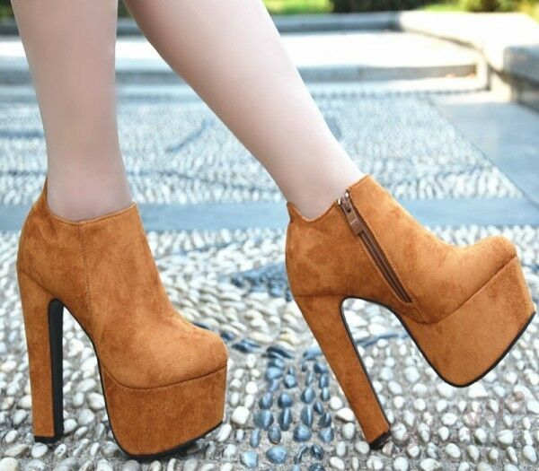 Womens Chunky Super High Heels Platform Zip Nightclub Ankle Boot Suede shoes YH